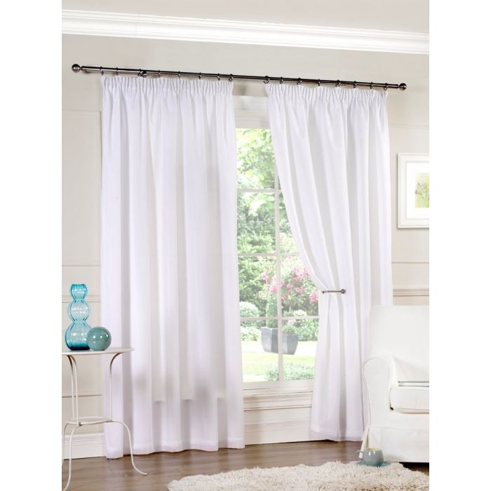 Aalia Lined Voile Readymade Curtain Pair, Lined White Curtains