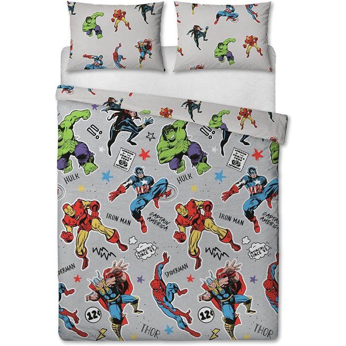 Marvel Comics Official Grey Double, Super Hero Bedding Double
