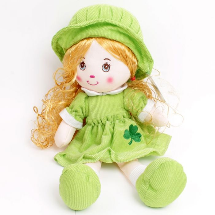 IRELAND HUGGABLE IRISH FRIENDS IRISH DOLL GREEN DRESS GREEN HAIR