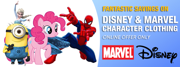 Guineys.ie - Disney & Marvel Kids Clothing Clearance Lines - Online Offer Only