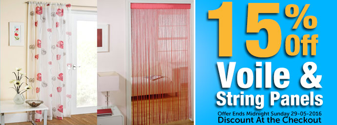 15% Off Voiles & String Panels